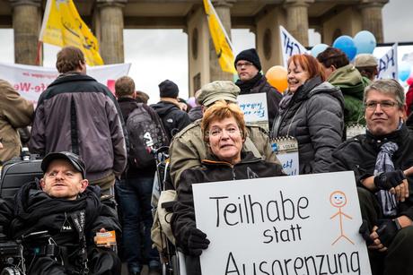 Demo zur Anhörung des Bundesteilhabegesetz
