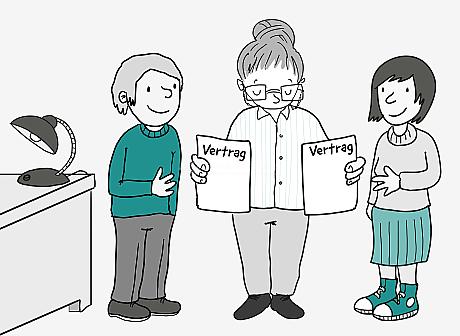 Eine Frau mit Hochsteck-Frisur und Brille hält in jeder Hand ein Blatt Papier mit der Überschrift: Vertrag. 2 Personen mit erwartungsvollen Gesichtern stehen rechts und links von ihr. Die Frau in der Mitte schaut konzentriert auf die Verträge.