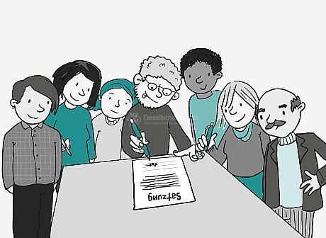 7 Personen drängen sich dicht um einen Tisch. Einige haben Stifte in der Hand. Alle sind bereit dafür, das Dokument auf dem Tisch zu unterschreiben. Auf dem Dokument steht groß: Satzung.
