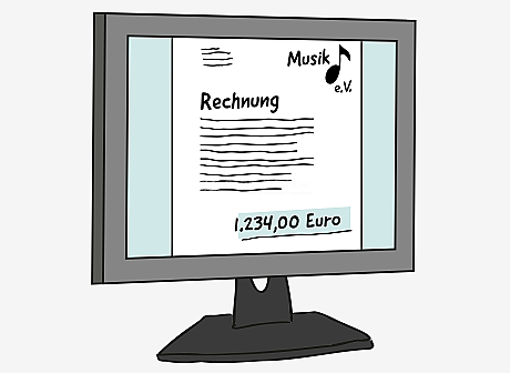 Auf einem Computer-Bildschirm ist ein Dokument abgebildet. Darauf steht groß: Rechnung. Darunter sind Wellen-Linien als Text. Oben links im Dokument sind Wellen-Linien als Anschrift. Oben rechts steht: Musik e.V., mit einem Noten-Symbol. Am unteren Rand steht grün hervorgehoben: 1.234,00 Euro.