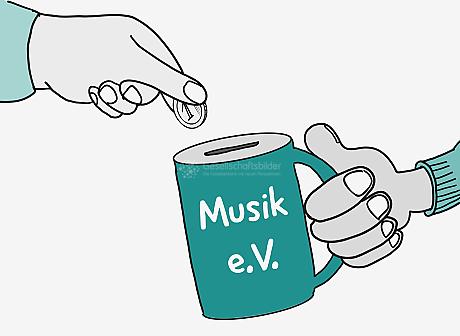 Eine Hand steckt eine 1-Euro-Münze in eine Spenden-Dose. Die Dose hat die Aufschrift: Musik e.V.