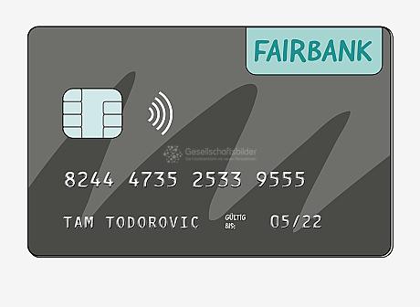 Vorderseite einer Kredit-Karte mit dem Logo der Fairbank, einem Speicher-Chip, dem wellenförmigen RFID-Symbol für kontaktloses Bezahlen und hochgeprägter Schrift. Die Kredit-Karte ist ausgestellt auf Tam Todorovic und gültig bis 05/22. Die Nummer der Kreditkarte ist: 8244 4735 2533 9555.