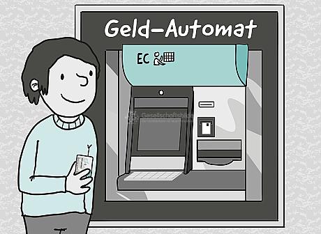 Ein großer Edelstahl-Kasten trägt die Aufschriften: Geld-Automat, EC. Er ist fest in einer Wand eingebaut. Links davor steht ein junger Mensch mit einer EC-Karte in der Hand. Bildschirm, Tastatur, Karten-Einschub und Geld-Ausgabe-Schacht sind schematisch dargestellt.