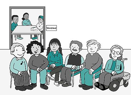 In einem Raum sitzen 6 Personen und unterhalten sich. Hinter ihnen ist ein weiterer kleinerer Raum. Darin sitzen 3 Menschen mit Papier und Stift an einem Tisch. Auf dem Tür-Schild steht: Vorstand.